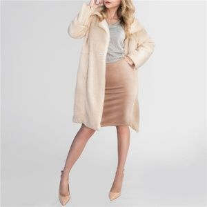 Dresses & Skirts - Womens Suede Pencil Midi Skirt in Beige